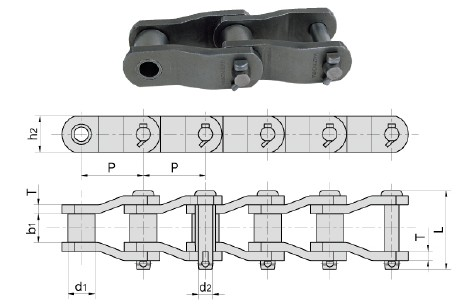 Heavy duty cranked-link chain