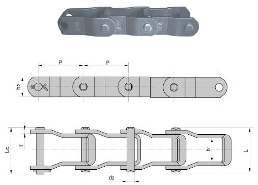 Steel pintle chain